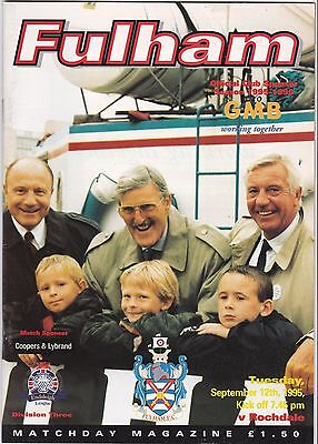 Fulham V Rochdale 3Rd Division 12/9/95
