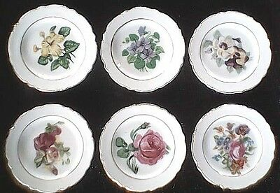 """Vintage Butter Pat Plates Six (6) 3 1/2"""" Floral Painted Made In Japan Free Ship!"""