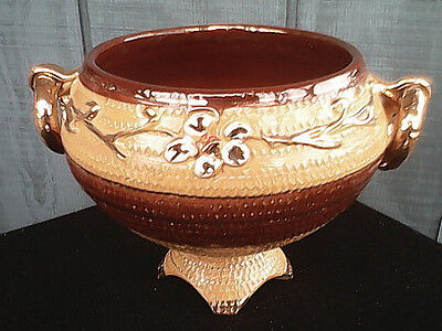 """Vintage Italian Ceramic Pottery Pedestal Bowl Signed Numbered 6 X 8"""" Free Ship!"""