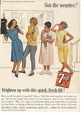 Vintage 1962 Magazine Print Ad 7-Up Soda The Wearies Advertising Sevenup