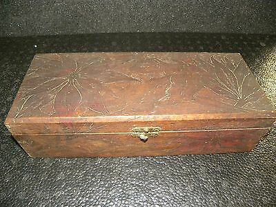 "Vintage Wooden Flemish Art Box 682 Poinsettia & Holly Decor 12-1/2"" Long"