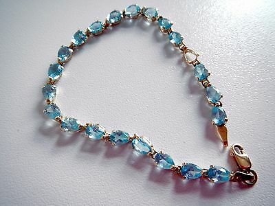 SKY BLUE SAPPHIRE & 10K not 9ct YELLOW GOLD BRACELET