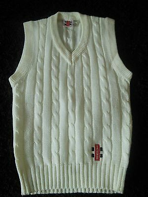 Men's Cricket Gray Nicolls New Sleeveless Jumper Size 38/40 (M) in Ivory,