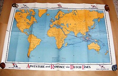 Vintage Map World DUTCH LINES cruise Ships Route & Pictorial Map ca 1935 Royal D
