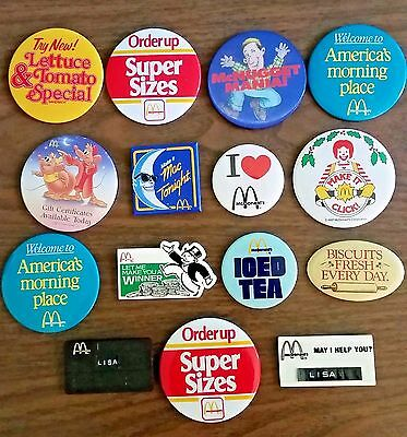 Lot of 15 vintage McDonald's Pin Back Buttons from the 1980's and 90's