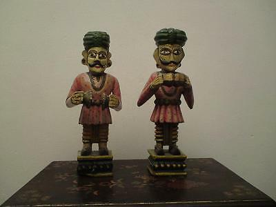 Two old Indian carved folk-art figures  painted-wood  musicians  (male)