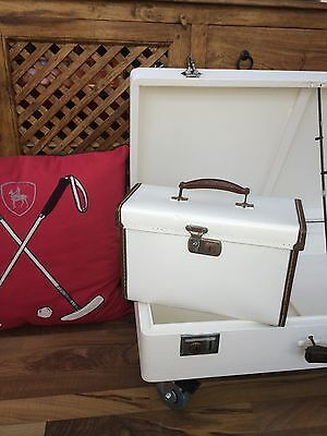 Colonial Steamer Trunk Travel Luggage Hand Painted With Key