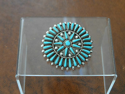 RARE !! Quality Signed- Zuni Silver & Turquoise Pendant/Pin By P.Lahi 10.2gr