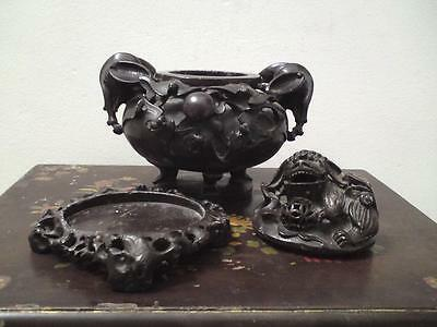 Antique Chinese carved soapstone bat relief Koro Incense burner elephant handles