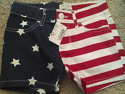 NWT Children's Place Girls USA 4th July Shorts Size 5