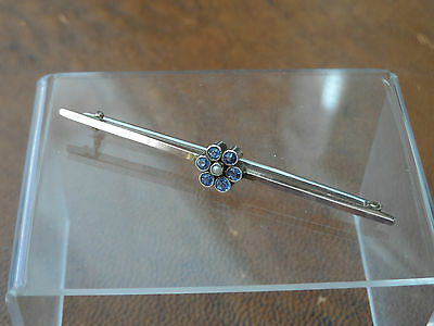 GORGEOUS Vintage MARKED 9CT GOLD & TANZANITE SEED PEARL BROOCH-PIN