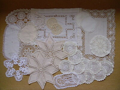 Job Lot of 25 Vintage Doilies/Mats.Crochet.Embroidery.Lace. Wedding. Occasion. .