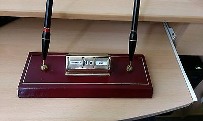 1960s leather desk set with perpetual calendar