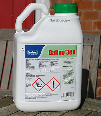 1 X 5L Gallup 360 Very Strong Professional Glyphosate Weedkiller New Stock!!!!!