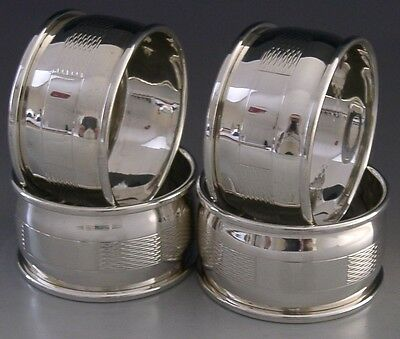 Quality Set Of Four English Sterling Silver Napkin Rings 1976 Mint