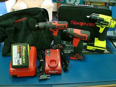 Snap-On Cordless Drill CDR761A + 3/8 Impact CT8810AHV + 1/4 cts725 Screwdriver