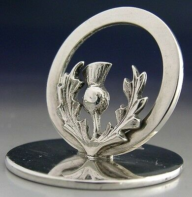 Beautiful Quality Sterling Silver Scottish Thistle Menu Holder 1914