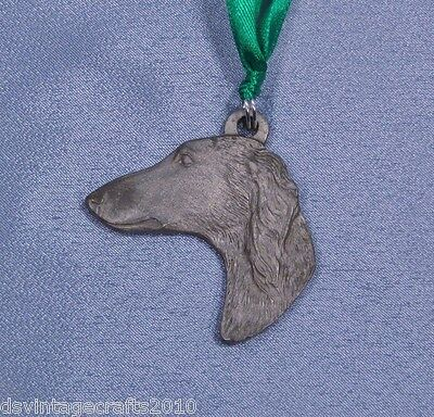 Saluki Vintage Pewter Dog Christmas Ornament 1983