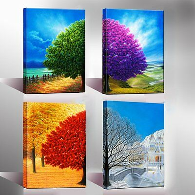 Canvas Wall Art Print Painting Picture Home Decor Poster 4 Season Trees Framed