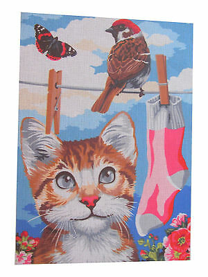 Canvas Tapestry Needlepoint Printed Gobelin Embroidery Fil Chat Cat 929.644 New