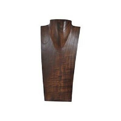 Brown V Neck Necklace Display, Solid Tropical Wood, 12 inch