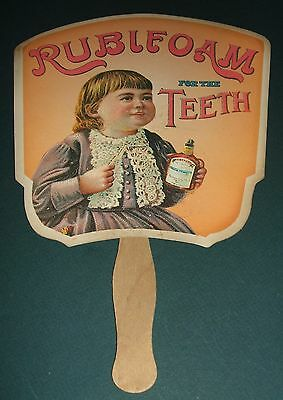 Original Vintage Advertising Fan for Rubifoam for the Teeth circa 1890-1910