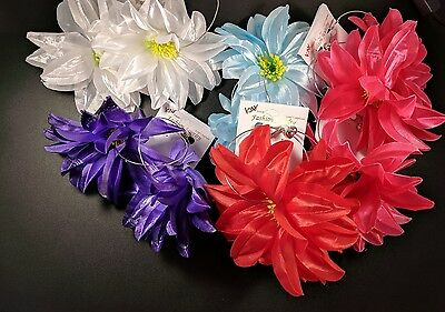 NEW Lot of 12 Fabric flower petals  hoop earrings jumbo hoops silver tone 3""