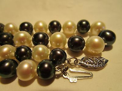 GORGEOUS VTG 14K GOLD AAA QUALITY GENUINE TAHITIAN & AKOYA 7.5 mm PEARL NECKLACE