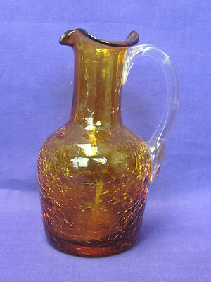 Pilgrim Glass Amber Crackle Glass Pitcher Clear Handle