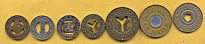 7 Piece Vintage Lot Of All Different New York Transit Tokens.