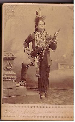 Vintage Cabinet Photo Mohawk Indian with Rifle, Wild West show, Deadwood Dick's