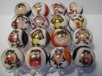 TAZ TAZMANIAN DEVIL looney tunes MARBLES 5/8 SIZE collection lot with STANDS