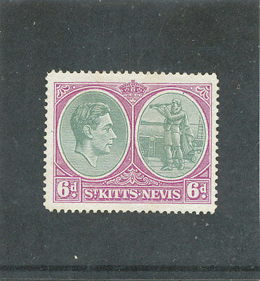 St Kitts - Nevis KGVI 1948 6d green & purple Chalky Paper P14 SG74d MM