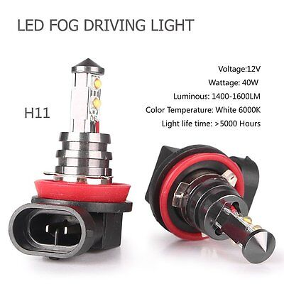 Pair H11 H8 H9 High White Power 40W 6000K Car Fog Driving LED Light Bulbs DT1