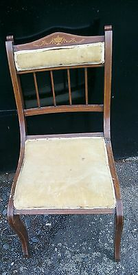 Antique Edwardian Inlaid Occasional Parlour Bedroom Hall Chair dining ?