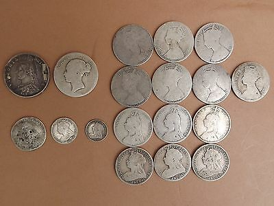 18 Victorian Silver Coins 174 g Scrap Or Keep