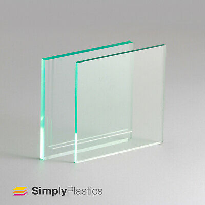 """Glass """"Look"""" Green Edge Acrylic Perspex Sheet / A3, A4, A5 / Choose Thickness"""