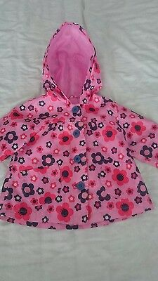 MOTHERCARE Lovely girls floral raincoat jacket waterproof, age 9-12 months