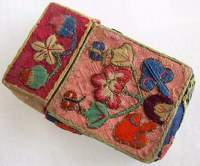 Vintage 1930's Chinese Embroidered Silk Calling Card Case - Flowers