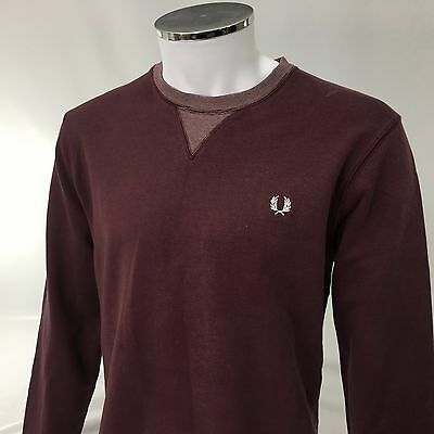 Fred Perry large 42 mens red maroon jumper cotton crew neck vintage casuals RARE