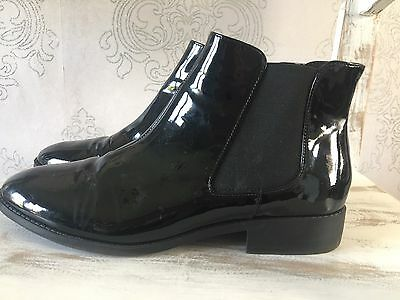 💙💙 Black River Island Ankle Patent Boots Size 8 💙💙 Worn Once