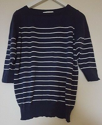 Ripe Maternity Striped Cotton Top in Navy (Size M)