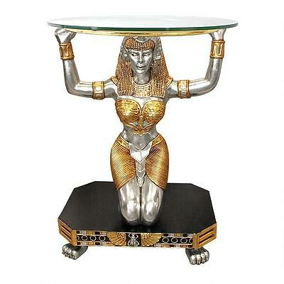 """Ancient Egyptian Royal Goddess Ma'at 30"""" Glass-Topped Sculptural Console Table"""