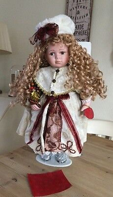 """Brand New Large Leonardo Porcelain Doll Approx 21"""" With Certificate Authenticity"""