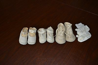 Vintage Antique Baby Shoes Lot Button Leather Wool booties