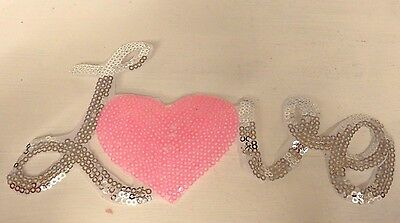 large sequin patches love heart letter patch applique iron on sew motif badge