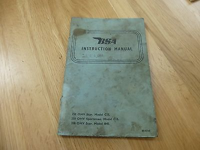 BSA Instruction manual...Vintage wear