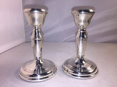 English Sterling Silver Candleholders By Britton Gould & Co Birmingham Georges V