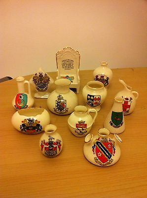 12 Pieces Of Crested China - Various Crests - Goss/arcadian Etc - Lot 1