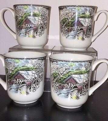 4 Johnson Brothers The Friendly Village  Coffee Mugs - The Covered Bridge EXC